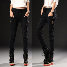 Korean version of the influx of spring and winter women elastic waist big yards Harlan feet denim pants collapse(China)