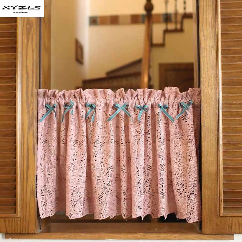 Short Curtain For Kitchen Door Half Curtains Pastoral Dark Pink Lace Short Blinds For Home Cafe Living Room Bedroom 1Piece