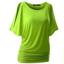 Solid T-shirt Top  Loose Large Size Women's Sexy Round Neck bat Europe and the United States Short Batwing Sleeve Top F0023