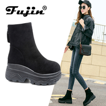 Fujin Brand  Women Ankle Boots New Fashion Waterproof Wedge Platform Winter Warm Snow Boots Shoes For Female(China)