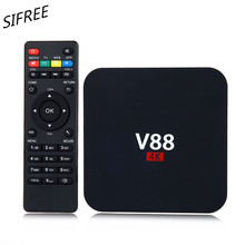 SIFREE Quad V88 4K Android 6.0 Smart TV Box Rockchip 1G/8G 4 USB 4K 2K WiFi Full Loaded Quad Core 1.5GHZ Media Player PK X96 K2
