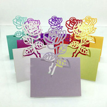 Hot 100pcs Laser Cut Rose Paper Name Card Holder Festive Wedding Party Table Wine Food Guest Name Place Cards Favor Decoration(China)
