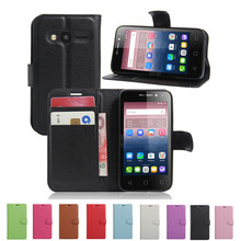 Hot Selling Wallet Style PU Leather Case For Alcatel One Touch 4034D Pixi 4 4.0 Flip Protective Phone Cover Bag Skin 4034