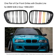 One Pair of Car Front Kidney Grille Grilles Covers with Double Line Car-styling for BMW E46 Grill 2 Doors 1998-2001(China)