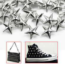 100 pcs 15mm Silver Star Shape Spikes Studs Spot Rivets for Clothes Bag Shoes Leather(China)