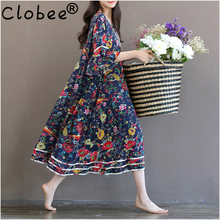 Vestidos Office Preppy Style Womens Elegant Vintage Print Loose Long Dress Floral cotton linen Summer Swing Maxi Dress CD395(China)