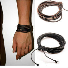 Hot Sale Wrap Genuine Leather Bracelet Braided Rope for Men Women Fashion Jewelry Friendship Bracelet Gift Fast Shipping XCJ024(China)