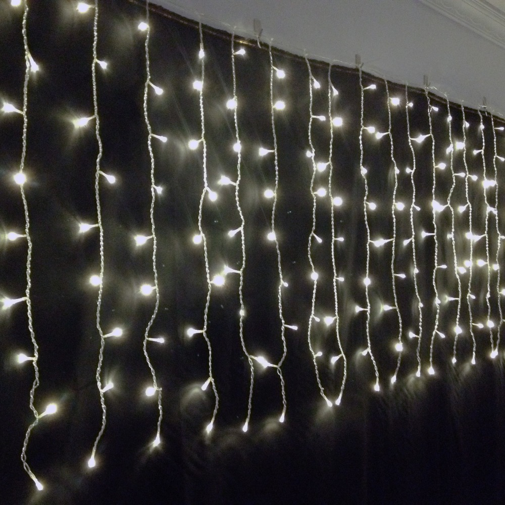 6W 300pcs Bulb Light IP44 Waterproof LED Curtain Lights AC110~220V Voltage Input 3 Meter by 3 Meter, Warm Whte Color<br>