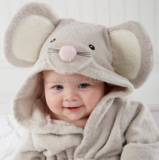 Hot sale Lovely  little mouse bathrobe Pure cotton with hood bathrobe bath towel bathrobe free shipping<br><br>Aliexpress