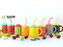 Fruit character belly ceramic mug sweet couple coffee cup with a spoon Straw ceramic fruit  C0064
