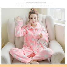 Women Flannel Sleepwear Lounge Warm Big Size Pajama Set Winter Flannel Pajama Homewear Sweet Lady Girls Coral Fleece Pajama 250