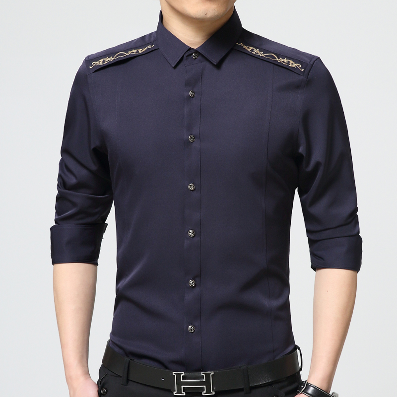 Summer Style Embroidery Shirt For men Fashion Busi...