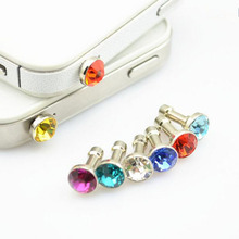 10PCS NYFundas Crystal Diamond 3.5mm Dust Plug Earphone Jack For iphone 4s 5 5s 6 6s Plus SE case Samsung earphones Accessories(China)