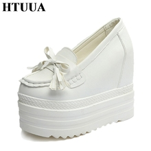 HTUUA 2017 Autumn Style Women Shoes Hidden Wedge High Heels Slip-On Loafers Solid PU Leather Thick Bottom Platform Shoes SX575(China)