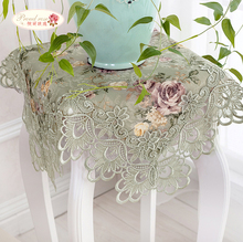 1 Piece Retro Green Rural Lace Fabric Hollow-out Table Cloth/ Classic Embroidered Tea Table Cloth/ European Rural Tablecloth