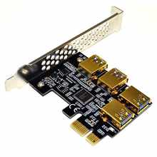 Новый 4 порта PCIe Riser Adapter Board PCI-E 1x to 4 USB 3,0 PCI-E Rabbet GPU Riser удлинитель эфириума ETH/Monero XMR/Zcash ZEC 1(China)