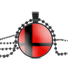 Glass Cabochon Pendant Necklace Super Smash Bros Ball Red and Black Art Image Beautiful Bead Chain Necklace for Women Jewelry