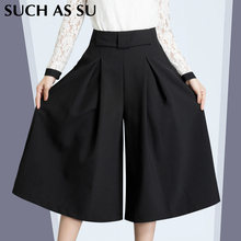 Brand New Fall Winter Wide Leg Pants Black Sexy Ankle-Length Culottes Pants S-XXXL Plus Size Loose Women Clothing Pants Woman