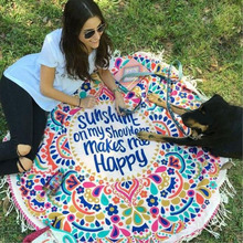 New Summer Large Printed Round Happy Beach Towels With Tassel Serviette De Plage Sunshine on my Shoulders Makes me Happy