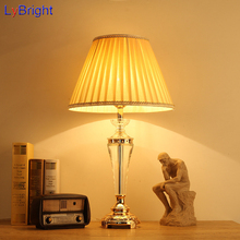 Modern European-Style Crystal Table Light AC 90-260V Crystal Table Lamp For Living Room Dining Room Bedroom Bedside Wedding Room(China)