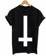 Inverted Cross Printed Men T Shirt Religion Swag Hipster Girl Retro Tshirt Cotton Custom Tee Shirt For Men Women Plus Size