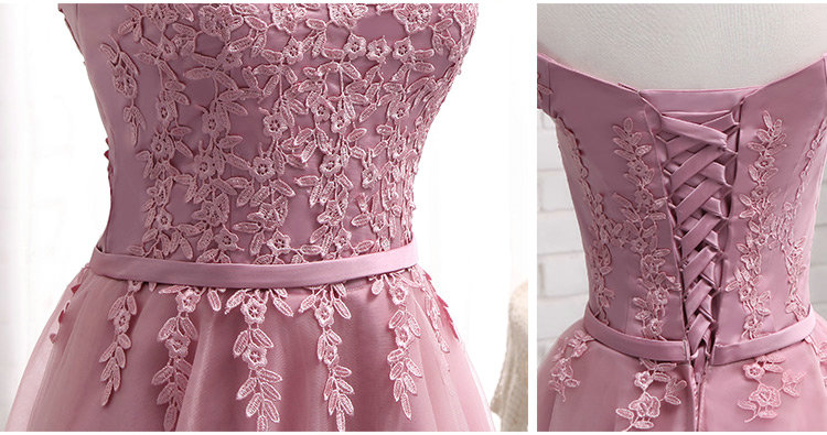 LAMYA Short Chiffion A Line Prom Dresses 2018 Boat Neck Lace Evening Party Dress Cheap Elegant Special Occasion Gowns 5