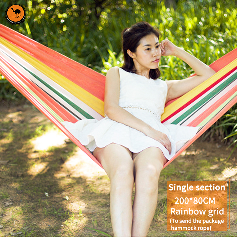 High Strength Portable Hammock 200*80cm Backpacking Hiking Woven Cotton Fabric Tender Green Striped Camping Furniture<br>