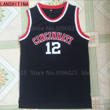 LANSHITINA 2017 Oscar Robertson Jersey #12 Cincinnati Bearcats College Basketball Jerseys,Cheap Throwback Black Jerseys(China)