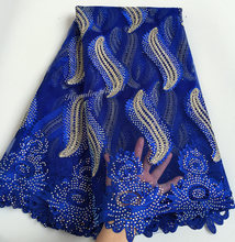 Big heavy Royal blue Gold African french Lace sewing mesh fabric with massive stones 5 yards per piece