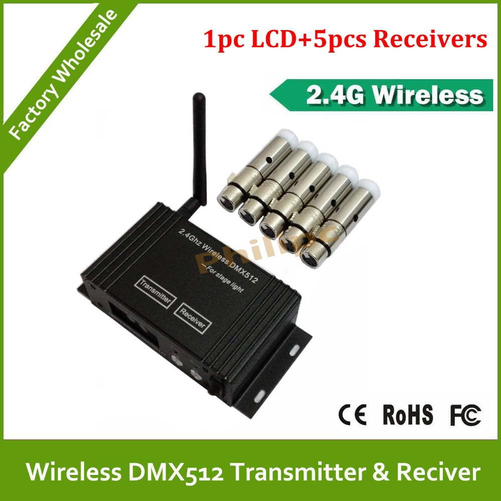 DHL Fast Free Shipping Portable lcd Wireless DMX Receiver/Transmitter 2.4G<br><br>Aliexpress