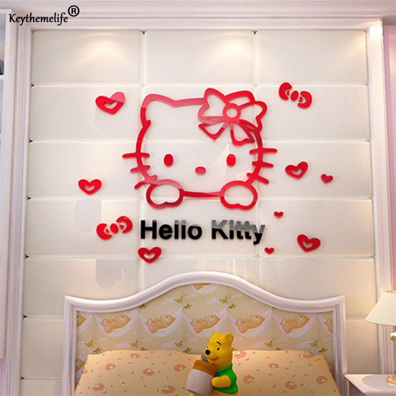 3D PVC Cute Hello Kitty Wall Sticker For Kid Bedroom Living Room