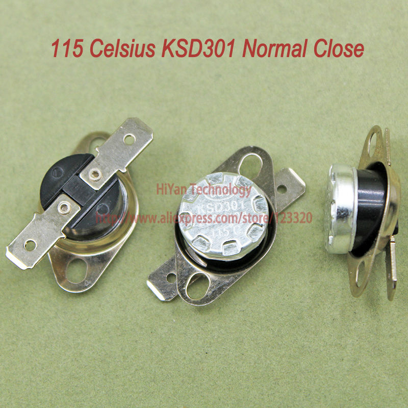 10pcs/lot KSD301 Thermostat Normally Normal Close 115 Degrees Celsius Thermostat Switches NC Temperature Switch<br><br>Aliexpress