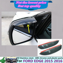 Car body stick rear Rearview Side glass Mirror trim frame Rain Shield Sun Visor Shade ABS eyebrow 2pcs for Ford EDGE 2015 2016