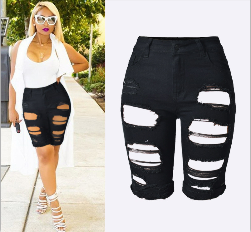 High-Waist Women Short Jeans Summer Fashion Hollow Ripped Holes Stretch Denim Knee-Length Skinny Pencil Four Color Sexy JeansОдежда и ак�е��уары<br><br><br>Aliexpress