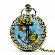 New Arrival Pirate Anchor Pendant Watch World Map Pocket Watch Retro Design Sailor Anchor Quartz Watches Men Gift