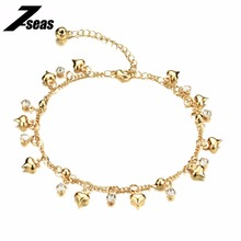 Romantic Heart Design Woman Jewelry Anklets Luxury Gold Color Cubic Zirconia Women Ankle Bracelet pulseras tobilleras,JM736(China)