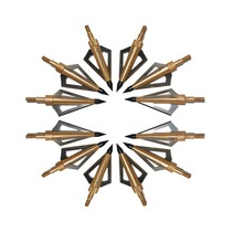 12Pcs/lot Hunting Blade Archery Broadheads 3Fixed 100 Grain Arrow Head Hunting Arrow Tips Golden for Compound Bow and Crossbow(China)