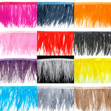 1 Meter/lot Multi Color Long Ostrich Feather Plumes Fringe trim 8-10cm Feather Boa Stripe for Party Clothing Accessories Craft