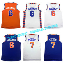 New Men jersey Kristaps Porzingis #6 embroidery #7 Carmelo Anthony jersey Derrick Rose basketball jersey Free Shipping