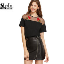 SheIn Ladies Tops Sexy Women's T shirt Ladies Tees 2017 Black Embroidered Rose Applique Mesh Shoulder Short Sleeve T-shirt