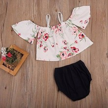 2Pcs/Lot Newborn Infant Baby Girls Clothing Sets Cotton Flower Print Summer Off Shoulder Blouse+Shorts Baby Sets Girl Clothes F1(China)