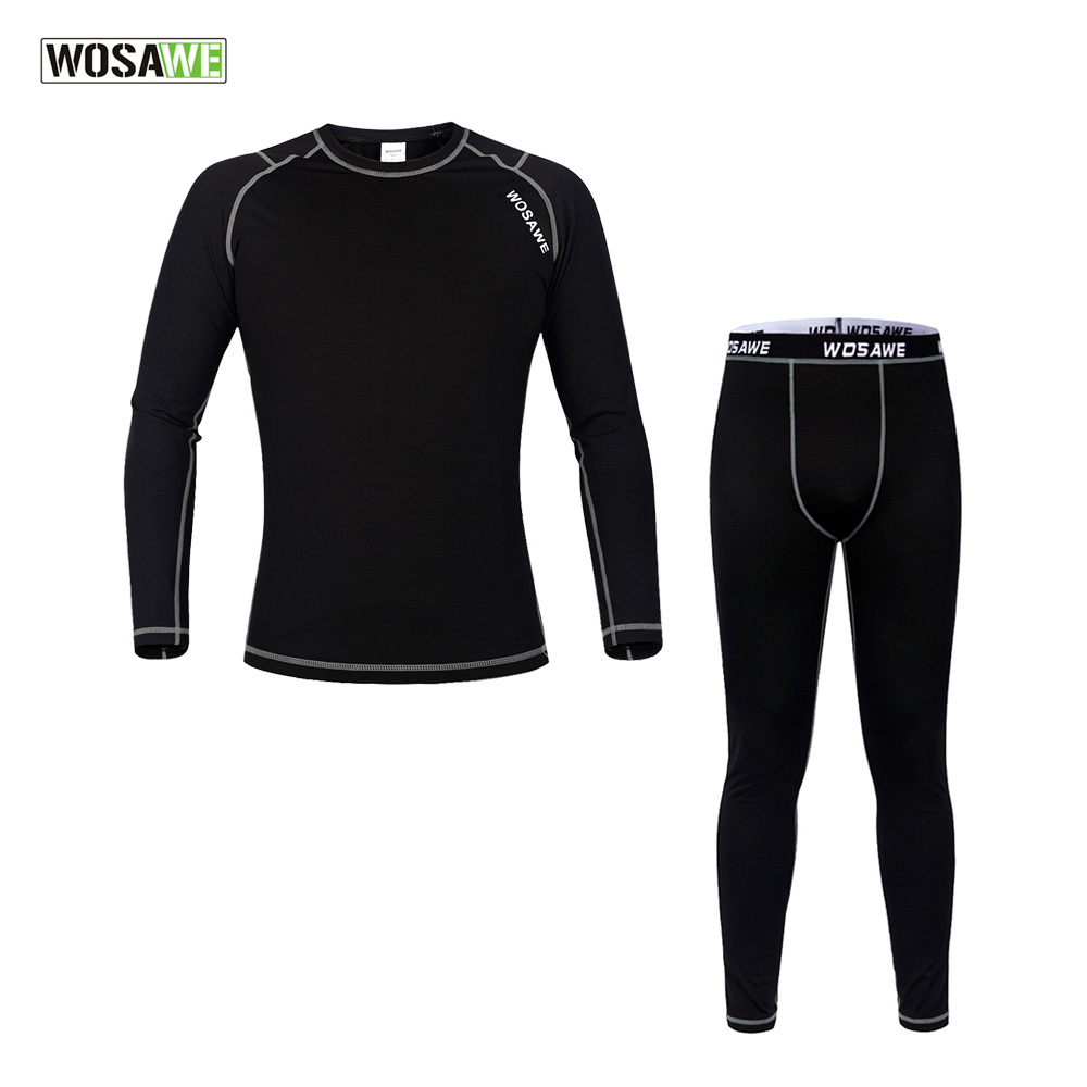 WOSAWE Men Winter Outdoors Sports Cycling Base Layer Sets Thermal Underwear Surface Elastic Long Johns Bicycle Clothing<br>