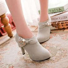 Giant Flag Ankle Boots New 2016 Winter Boots Fashion Rhinestone Bow 3 Colors High Heels Boots Women Shoes