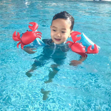 One Pair PVC Swimming Arm Ring Crab Flamingo Children Protable Inflatable Aid Bands Arm Swimming Pool Float Ring