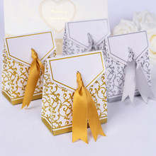 5Pcs Candy Box With Ribbon 2 Colors Paper Gift Bags Wedding Favors Sugar Case Wedding Decoration mariage casamento(China)