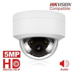 5MP POE IP камера с микрофоном, аудио, IP Купольные Камеры видеонаблюдения Открытый IP66 Крытый Открытый ONVIF совместимый Hikvision