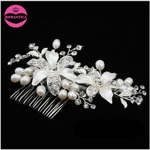 Handmade hair accessories bridal rhinestone enemal flowers hair comb freshwater pearl hair jewelry wholesale wedding accessories(China)
