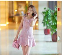 Pink tweed dress flouncing 2017 spring / autumn women new dress ladies small fragrant wind sleeveless dress