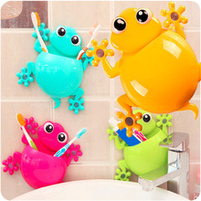 Creative Cartoon Sucker Gecko Toothbrush Wall Suction Hook Tooth Brush Holder Home Decor For Kids Bathroom Accessories(China)