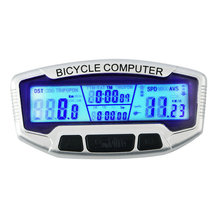 SunDing 558-A Wired Waterproof Bike Computer LCD Backlight Cycling Bicycle Odometer Speedometer Stopwatch Velometer